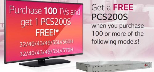 Free PCS200S when you buy 100 or more LG TVs