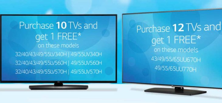 Expired: Early 2019 Specials on LG Hospitality TVs: Buy 10 or Buy 12 and Get 1 Free TV