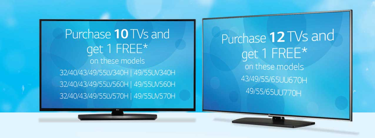 Early 2019 Specials on LG Hospitality TVs: Buy 10 or Buy 12