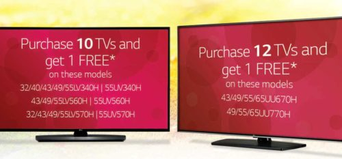 2019 Spring Specials on LG Hospitality TVs: Buy 10 or Buy 12 and Get 1 Free